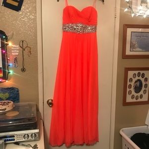 Strapless Neon Prom Dress